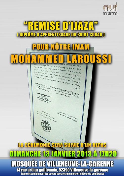 Remise d'Ijaza (diplôme d'apprentissage du saint Coran) pour nôtre Imam Mohamed LAROUSSI